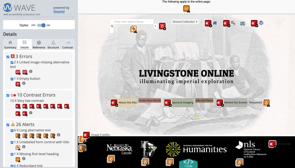 Livingstone Online project page marked up with WAVE. There are 3 errors, 10 contrast errors, and 26 alerts.